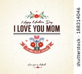 vintage happy mother's day card | Shutterstock .eps vector #188314046