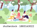 happy family relaxing on picnic ... | Shutterstock .eps vector #1883163022