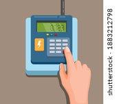 electricity token. hand insert...   Shutterstock .eps vector #1883212798