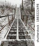 Black White Steel Stairs Winter ...