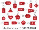sale discount badges. red price ... | Shutterstock .eps vector #1883234398