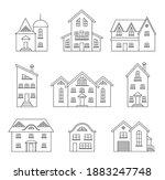 set of outline houses isolated... | Shutterstock .eps vector #1883247748