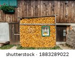Mountain Hut With Stacked...