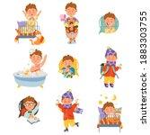 little freckled boy waking up ... | Shutterstock .eps vector #1883303755