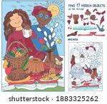 find hidden objects. little boy ... | Shutterstock .eps vector #1883325262