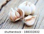 Organic Garlic On Wood...