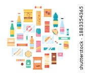 snack food circle poster   flat ...   Shutterstock .eps vector #1883354365