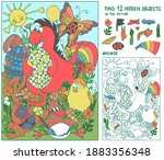 find hidden objects. dinosaur ... | Shutterstock .eps vector #1883356348