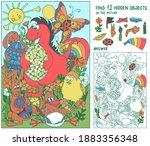 find hidden objects. dinosaur ... | Shutterstock .eps vector #1883356348