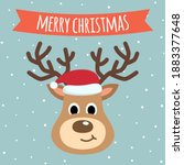 reindeer cute cartoon close up...   Shutterstock .eps vector #1883377648