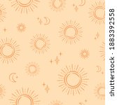 seamless pattern with sun and... | Shutterstock .eps vector #1883392558