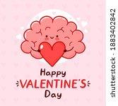 cute funny brain organ present... | Shutterstock .eps vector #1883402842