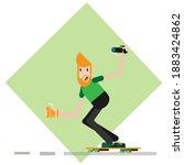 guy on skate with juice | Shutterstock .eps vector #1883424862
