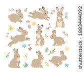 rabbits collection. vector... | Shutterstock .eps vector #1883444092