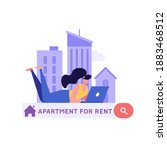 house for rent. woman renting...   Shutterstock .eps vector #1883468512