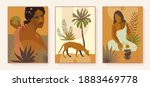 boho style triptych. exotic... | Shutterstock .eps vector #1883469778