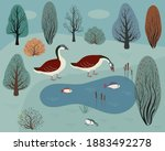 Two Wild Geese On A Forest Lake....