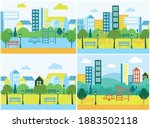public space with lawn and... | Shutterstock .eps vector #1883502118