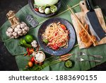 """Small photo of Som Tam Thai -Ingredients Papaya Salad Thai Food Style ,Thai Salad, """"Somtum"""" cuisine, Background, Lao, Southeast Asia, somtam, green papaya, sweet, salty, tangy, and spicy Thai Food Concept. Top View"""