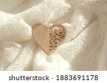 Wooden Heart On White Fur Plaid ...