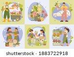 floristic concept 6 flat... | Shutterstock .eps vector #1883722918