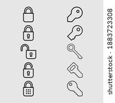 lock and key outline icon set...   Shutterstock .eps vector #1883723308