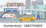 public transportation tram bus... | Shutterstock .eps vector #1883724805