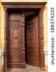 Old  Half Opened Wooden Door In ...