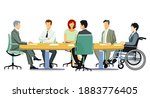 meeting and advice  meeting in... | Shutterstock .eps vector #1883776405