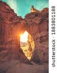 Arch in the rock. Desert nature landscape. Timna park. Israel. Vertical image.