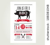 barbecue party invitation. bbq... | Shutterstock .eps vector #188381048
