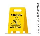 caution wet floor   yellow... | Shutterstock .eps vector #1883817982