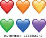 full rainbow of love emoji set   Shutterstock .eps vector #1883866342