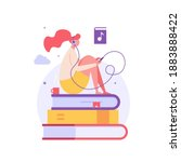 audio book. woman listening... | Shutterstock .eps vector #1883888422