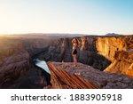 Carefree Woman On Grand Canyon. ...