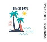 palm tree starfish sun text...   Shutterstock .eps vector #1883910568