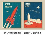 mars city and space mission...   Shutterstock .eps vector #1884010465