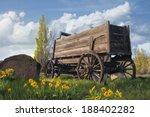 Old Wooden Wagon At Farm Ranch...