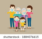 family wearing protective... | Shutterstock .eps vector #1884076615