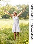 attractive blonde in the field... | Shutterstock . vector #188408336