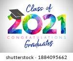 class of 2021 year graduation... | Shutterstock .eps vector #1884095662