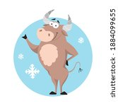 cute cartoon bull. funny ox ...   Shutterstock .eps vector #1884099655