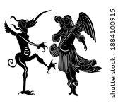 angel and devil. medieval art.... | Shutterstock .eps vector #1884100915