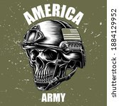 army skull and an america flag... | Shutterstock .eps vector #1884129952