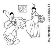 lineart traditional dance korea ... | Shutterstock .eps vector #1884300355