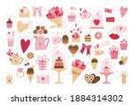 big set of romantic elements... | Shutterstock .eps vector #1884314302