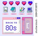 clip art set of retro pixelated ... | Shutterstock .eps vector #1884393895