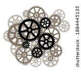 cogwheel mechanism on a white... | Shutterstock .eps vector #1884445135