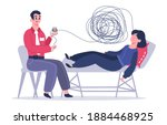 psychotherapy session. woman... | Shutterstock . vector #1884468925