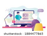 grandmother studying on online... | Shutterstock .eps vector #1884477865